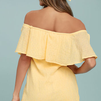 Hello Sunshine Yellow Off-the-Shoulder Dress