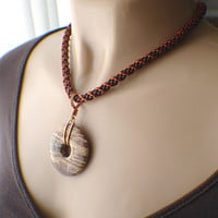 Brown gemstone donut kumihimo braided necklace chocolate copper brown