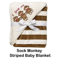 Sock Monkey Company.com - Sock Monkey Love Striped Baby Blanket