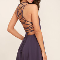Good Deeds Dusty Purple Lace-Up Dress