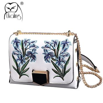 UKQLING Brand Famous Women Messenger Bags Floral National Style Cross Body Shoulder Bag with Long Chain Sac a Main Flap Handbag