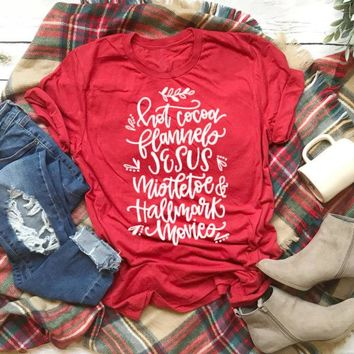 Unisex What's better than HOT COCOA Mistletoe JESUS and Christmas T-Shirt Red Clothing Shirt Merry Christmas Outfits Tops