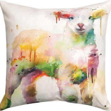 "Lamb in Paint Indoor/Outdoor Weather Resistant Throw Pillows (Set of 2, 18"")"