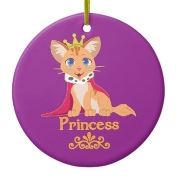Princess Kitten Ceramic Ornament