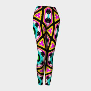 Yellow Black Turquoise Hand Drawn All Over Print leggings