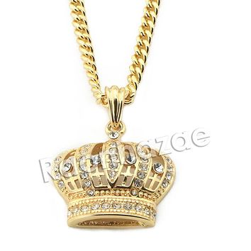 """Mens Iced Out Brass Bling King Crown Pendant w/ 5mm 24"""" 30"""" Cuban Chain A02"""