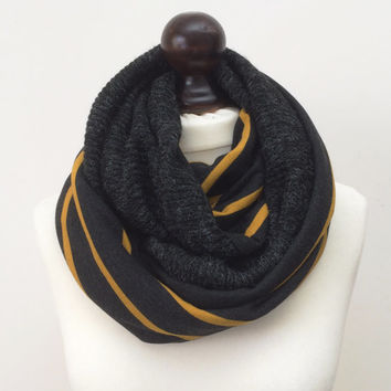Circle Scarf, Mustard Wool Scarf, Tricot Loop Scarf, Two Sided Knit Scarf, Infinity Scarf, Striped Loop Cowl, Men's Scarf, Unisex Scarf