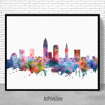 Cleveland Skyline, Cleveland Print, Cleveland Ohio, Office Decor, City Wall Art, Watercolor Skyline, Watercolor City Print, ArtPrintZone