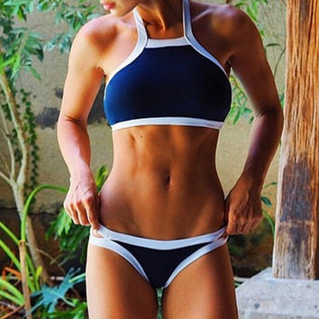Navy Blue Patchwork Two Piece Sports swimwear Swimsuit for Summer Gift - 04
