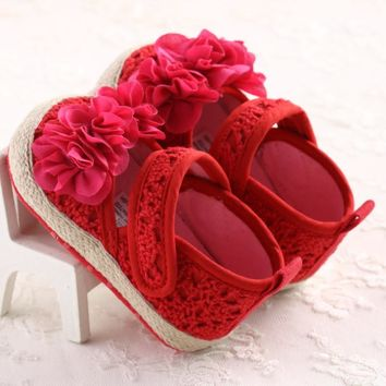 2016 Spring Red Mary Jane Flower Infants Crochet Knitted Baby Moccasins Girls Scarpe Neonata Baby Shoes For Birthday Soft Soled
