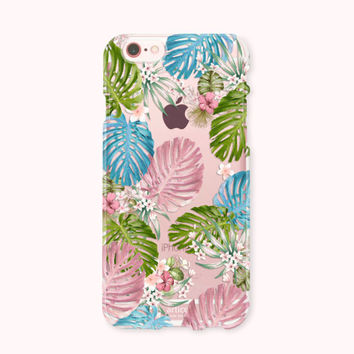 Clear iPhone 6 Case, iPhone 6s Case, iPhone 6 Plus Case, iPhone 6s plus Case, iPhone 5S Case, iPhone SE, Galaxy S7 Case - Colorful Monstera