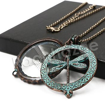Patina Antique Vintage Design Butterfly Effect 5X Magnifying Glass Locket Pendant Necklace