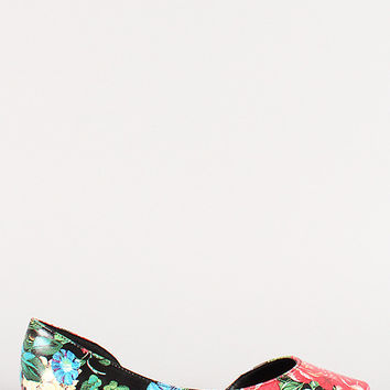 Breckelle Floral Pointy Toe Sweetheart Flat