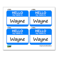 Wayne Hello My Name Is - Sheet of 4 Stickers