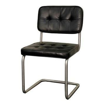 Bauer Tufted Chair Brushed Stainless Legs, Black (Set of 2)