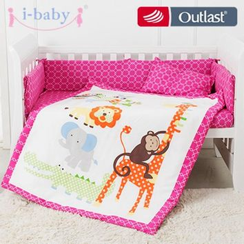 i-baby Baby Bedding Set 9pcs Crib Set Newborn Jungle Animals Cotton Printed Sheet Duvet Pillow Quilt Cot Sets in Crib Girl