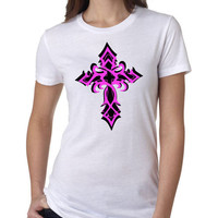 Women's Tribal Cross 2 Color T-Shirt