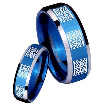 His Her Shiny Blue Bevel Multipe Square Celtic Two Tone Tungsten Wedding Rings Set