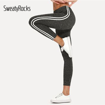 SweatyRocks Striped Tape Side Elastic Waist Leggings Grey Crop Sporting Leggings Women Summer Athleisure Active Wear Leggings