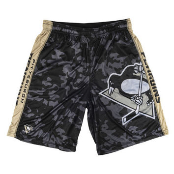 Pittsburgh Penguins Official NHL Big Logo Camo Shorts