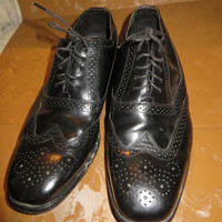 NUNN Bush 80s  longwing wing tip brogues,black,leather upper leather soles sz 12