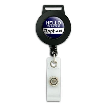 Raphael Hello My Name Is Retractable Badge Card ID Holder