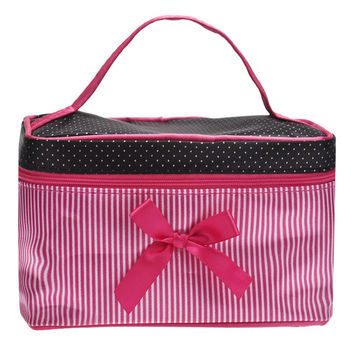 Durable Fashion Makeup bag Large Capacity Square Bow Stripe Cosmetic Bag Travel cosmetic bag