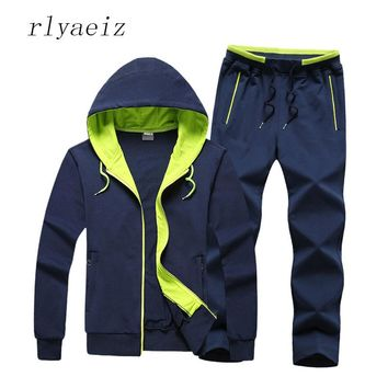 RLYAEIZ Plus Size 4XL Mens 2 Piece Set Spring Autumn Cotton Hooded Hoodies + Pants High Quality Casual Sporting Suits 2017 New