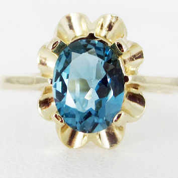 London Blue Topaz 14k Yellow Gold Oval Crown Ring, December Birthstone Ring, Solid 14 Karat Gold Ring, London Blue Topaz Gold Ring