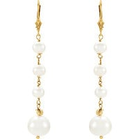 Gold Pearl Drop Earrings | Bridal Dangle Earrings | June Birthstone | Dainty Wedding Jewelry | Romantic Gifts for Her | Yellow Gold Pearls