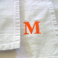 set of 4 monogram napkins / dinner / white cotton / colorful / summer / orange / blue / green / pink / embroidered / personalized gift /