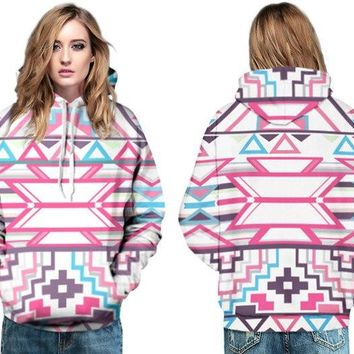 Pink Striped Hoodies Long Sleeve Pocket Womens Hooded Pullover 3D Print Colorful Geometric Abstraction Skateboarding Sweatshirt