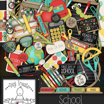 School Digital Scrapbook Kit.  School Themed Scrapbook Kit, Digital Papers, Clip Art, Words and More. **INSTANT DOWNLOAD***