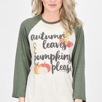 Autumn Leaves, Pumpkins Please Raglan {Oat/Moss}