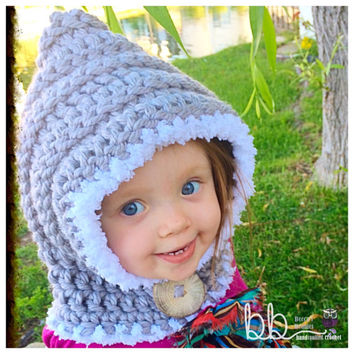 RTS Hooded Cowl (crochet) - fits 6 month to 2 year - Only One