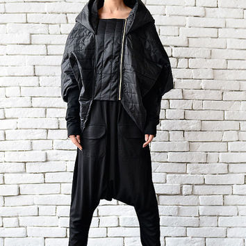 Extravagant Long Short Jacket/Asymmetric Black Coat/Oversize Cardigan/Loose Black Poncho/Black Hooded Jacket/Comfortable Black Maxi Blazer