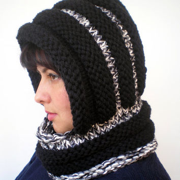 Eternity Black and saltpeper Color    Hoodie Mixed wool  Yarn Hood Woman Chunky  Hooded Cowl NEW
