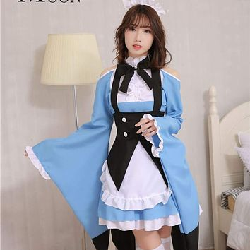 MOONIGHT Cosplay French Maid Costume Halloween Lolita Fancy Costume for Servant Women Maid Uniform Macchar Cosplay Catalogue