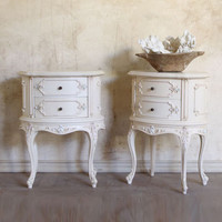 Antique French Style Curved Nightstands in Gold, Pink and Blue - $1195/pr - The Bella Cottage