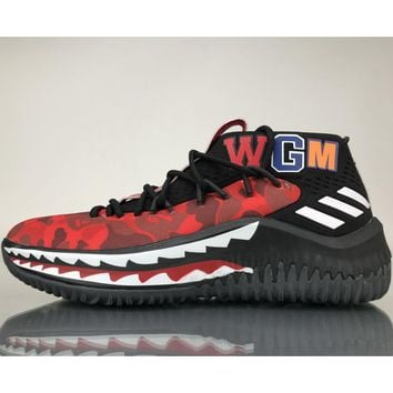 BAPE x adidas Dame 4 fashion trendy sneakers F red