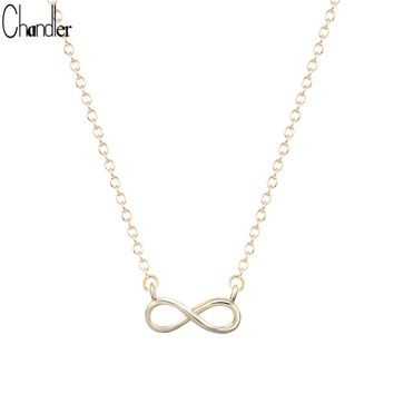 Silver Plated Endless 8 Shape Necklace For Women With Infinity Love Promise Symbol Charm New Fine Jewelry For Lover Gift