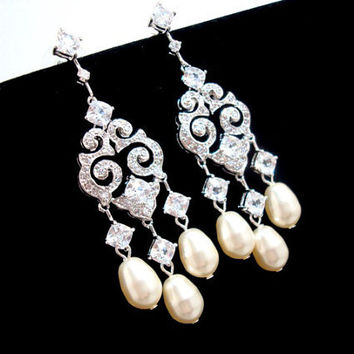 Bridal chandelier earrings, art deco earrings, cubic zirconia earrings, wedding jewelry, Swarovski pearl earrings