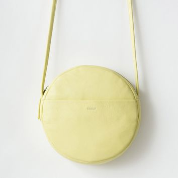BAGGU Leather Circle Purse Soft Yellow