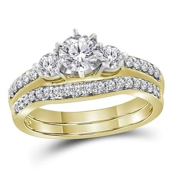 14kt Yellow Gold Women's Round Diamond 3-stone Bridal Wedding Engagement Ring Band Set 1.00 Cttw - FREE Shipping (US/CAN)