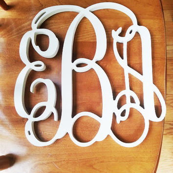 Wooden Monogram - Monogram Wall Hanging - Wedding Monogram - Wooden Letters - Nursery Decor - Vine Script Wooden Monogram - Wall Hanging