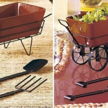 Salad Serving Bowl Ceramic & Metal Country Rustic Wheelbarrow Wagon Entertain
