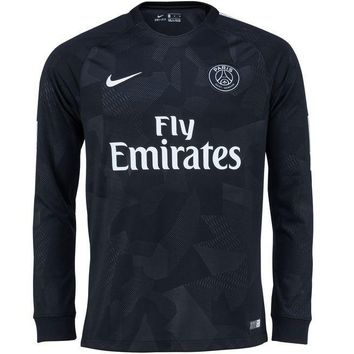KUYOU PSG 2017/18 Third Away Men Long Sleeve Soccer Jersey Personalized Name and Number