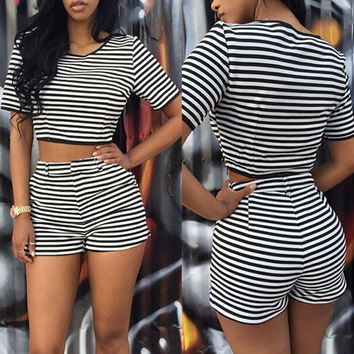 Striped Short Sleeve Crop Top with High-Waisted Shorts Twinset