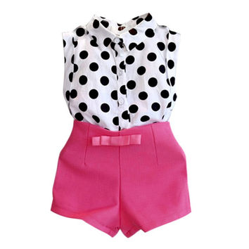 Girls Clothes Kids Boutique Outfits Sleeveless Polka Dot BlousePink Short Pants Clothes Set 2-6Y SM6