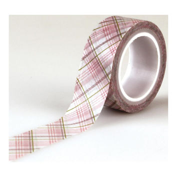 Baby Girl Pink and Taupe Plaid on White Paper Washi Tape; Echo Park Paper, 1/2 Inch Wide x 15 Feet Long